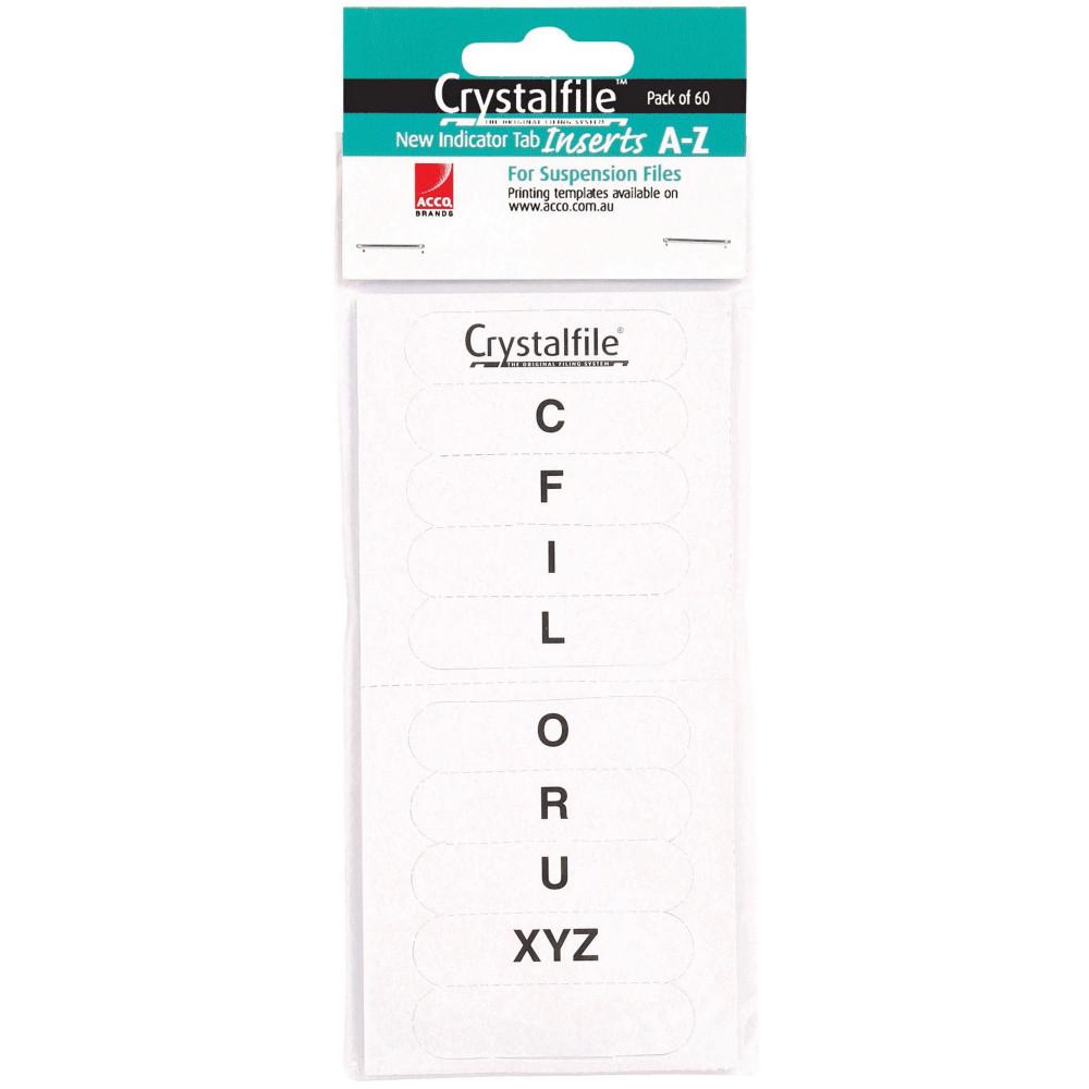 CRYSTALFILE INDICATOR TAB INSERTS (NEW STYLE) A-Z White 60PK