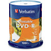 VERBATIM RECORDABLE DVD-R 16X 120MIN 4.7GB Inkjet Printable Pack 100 White