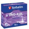 VERBATIM RECORDABLE DVD+R 8X 240MIN 8.5GB Jewel Case 5 PACK Double Layer