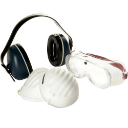 3M Protector Safety Kit 645838 Earmuff Goggle and 5 x Dust Masks