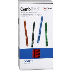 IBICO PVC COMB 12MM RED BINDING COILS