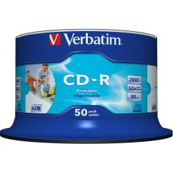 VERBATIM RECORDABLE CD-R 52X 80min 700MB Inkjet Printable 50 Pack White