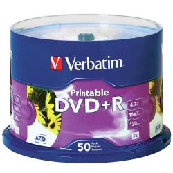 VERBATIM RECORDABLE DVD+R 16X 120MIN 4.7GB Inkjet Printable 50 Pack White
