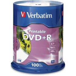 VERBATIM RECORDABLE DVD+R 16X 120MIN 4.7GB Inkjet Printable 100 Pack White