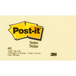 POST-IT NOTES - 655 76 X 127 YELLOW 655