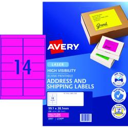 AVERY L7163FP FLUORO LASER LAB 14/Sht 99.1x38.1mm PINK