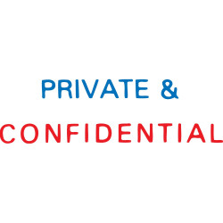 XSTAMPER STAMP CX-BN 2010 PRIVATE & CONFIDENTIAL Blue and Red