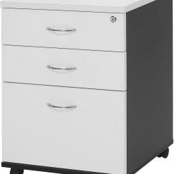 LOGAN MOBILE PEDESTAL 2Std&1F Drawer White/Ironstone